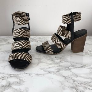 Black and Tan Strappy Block Heel Sandals
